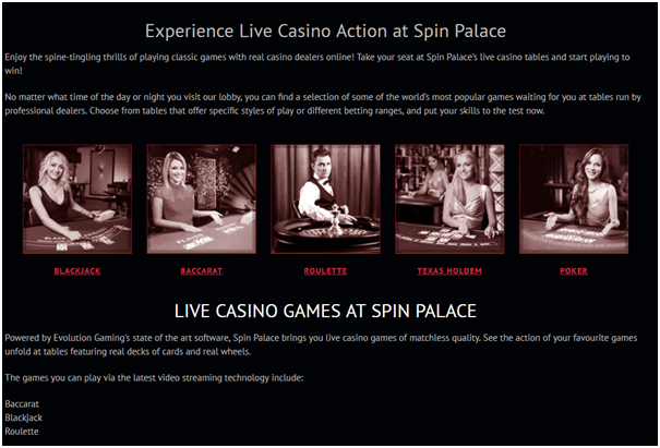 Live Dealer Games- Spin Palace casino