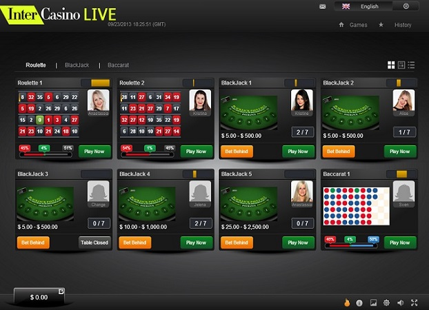 Choose your dealer at Intercasino Live