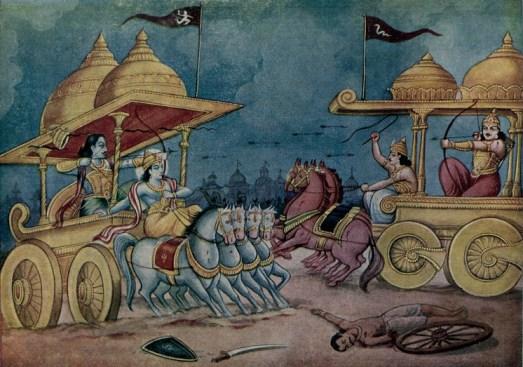 Lord Krishna and Arjuna as Krishna protects him from arrows