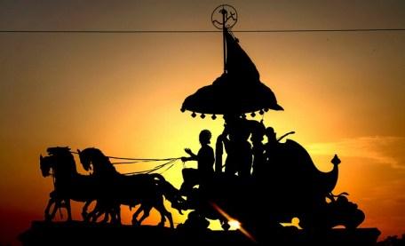 Lord Krishna and Arjuna in Mahabharata on Chariot