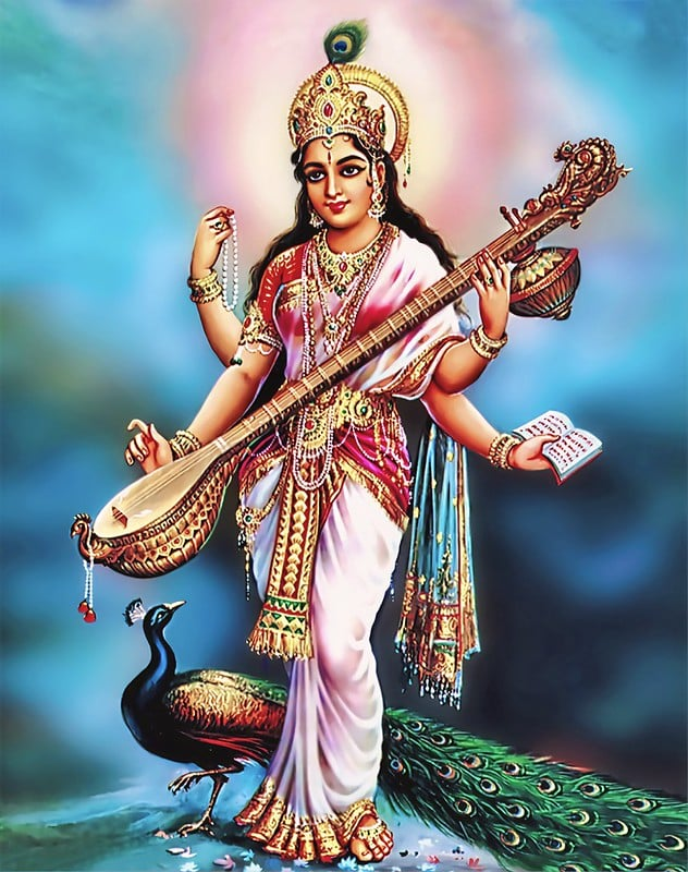 Saraswati Maa in Pink Saree