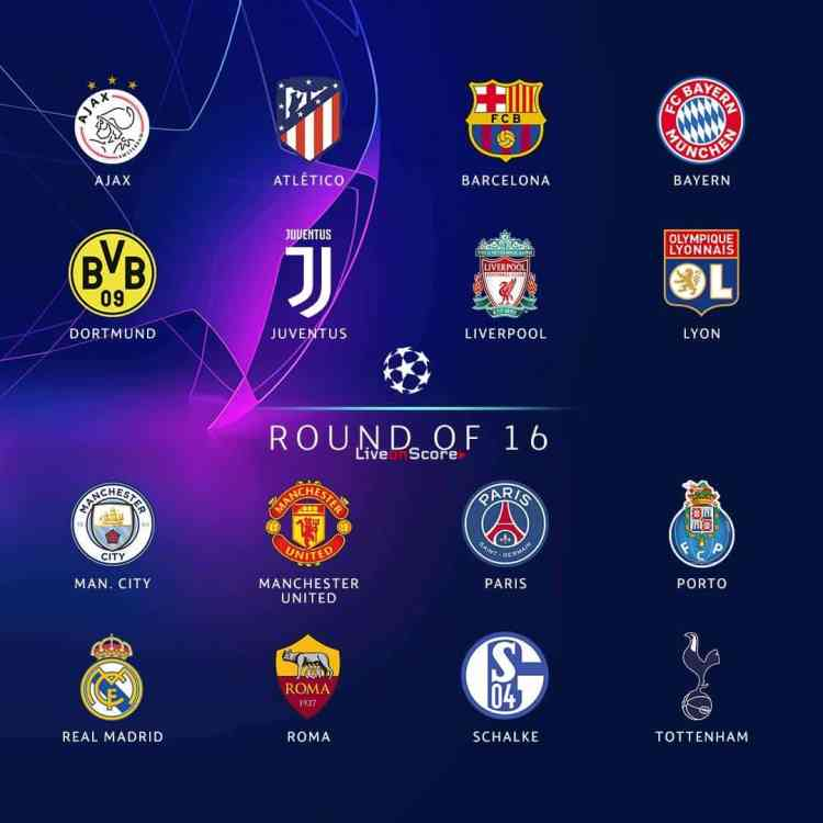 Champions League round of 16 and Team ranking
