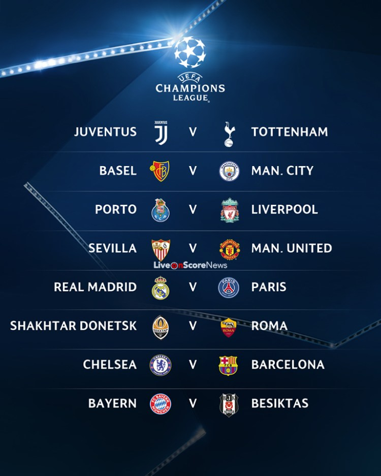 The UEFA Champions League round of 16 draw has been made ...