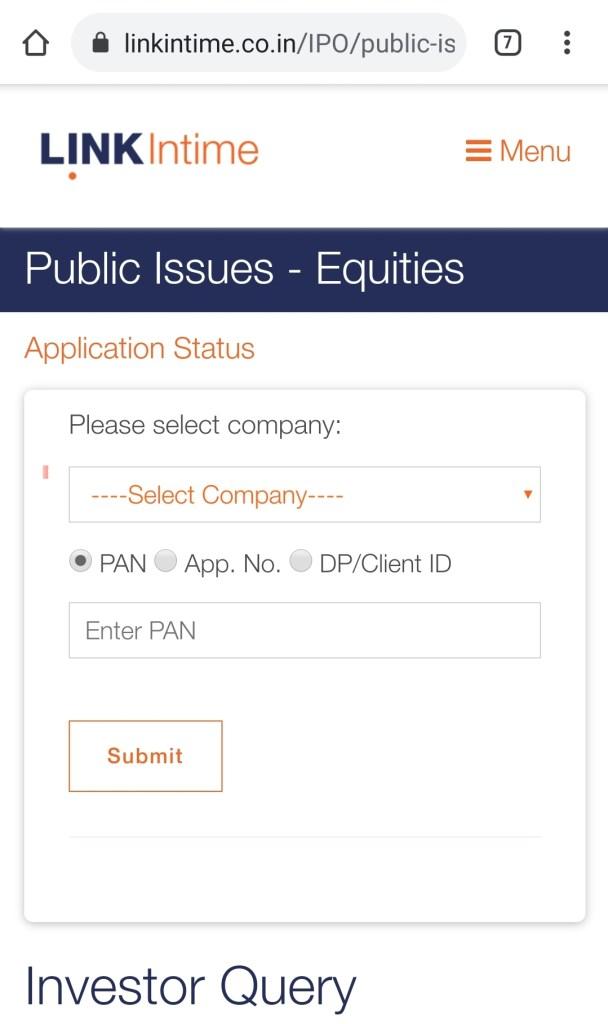 Linkintime IPO Allotment Status Check