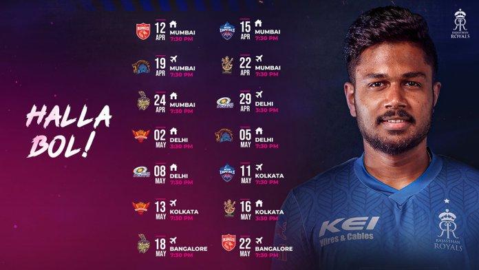 IPL 2021 Rajasthan Royals Schedule