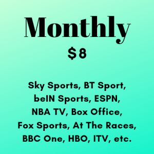 Monthly Subscription of Live Premium TV HD Channels 24/7 (Sports and Other Channels) (No Ads) (Desktop / Mobile)