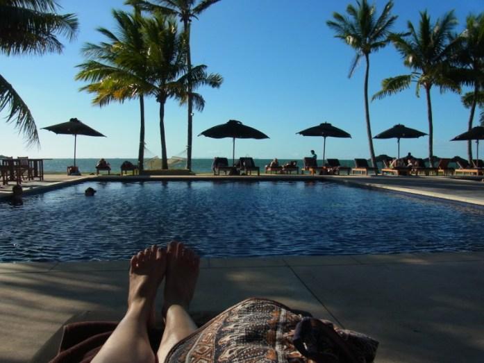 Poolside at the Hilton Denarau Fiji, before Zip lining Fiji
