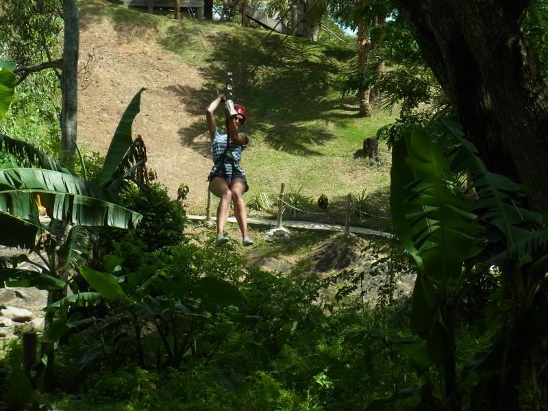 Zip lining in Fiji
