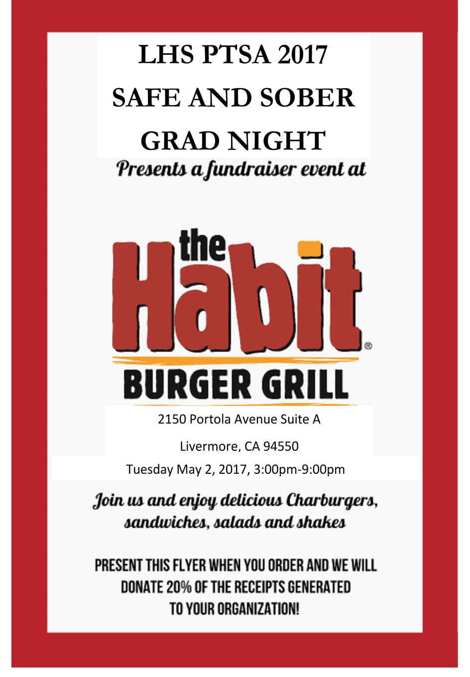 Safe and Sober Grad Night Dine Out ~ the Habit @ the Habit | Livermore | California | United States