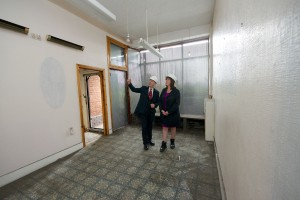 Deputy Mayor Cllr Ann O'Byrne and Cabinet member for business, enterprise and investment, Cllr Gary Millar in a unit on Smithdown Road being offered as part of the Shops for a Pound scheme