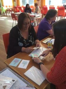 Cllr Parsons tries card making