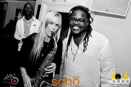 Claire Manners Saxophonist with DJ at Soho Bar Christchurch