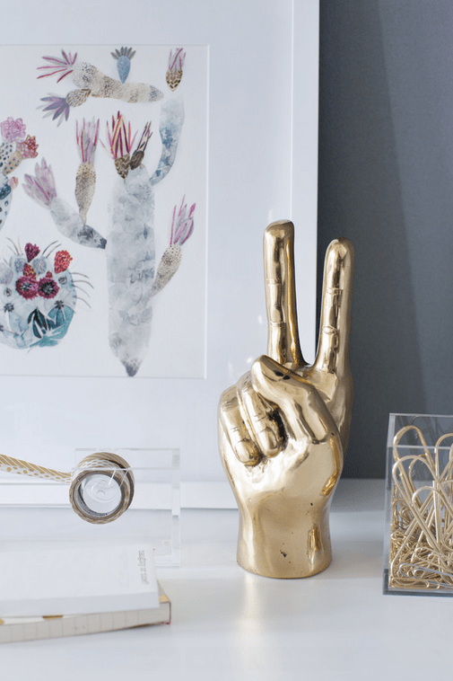 Amazing home office designed by Kelly Deck. Gold peace sign hand anyone?