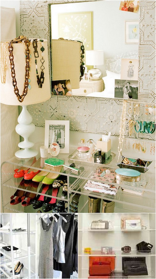 Storage can be pretty! Loving the idea of using acrylic shelves in the closet for maximum visibility.