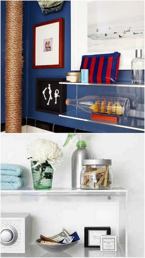 Storage can be pretty! Acrylic shelves in the bathroom--so much better than plastic and so much less fragile than glass. Win-win.