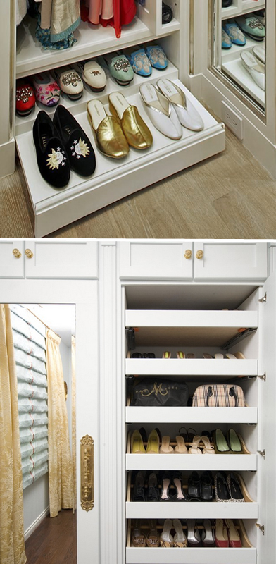 Pull out shelves for storing shoes--love this uber accessible & space maximizing concept!