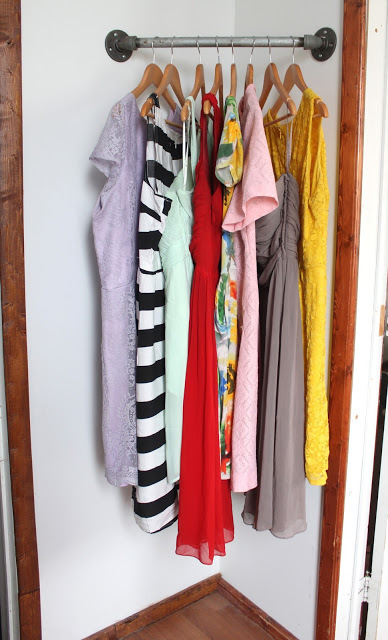Great Small Space Solution   The Corner Hanging Bar Closet!