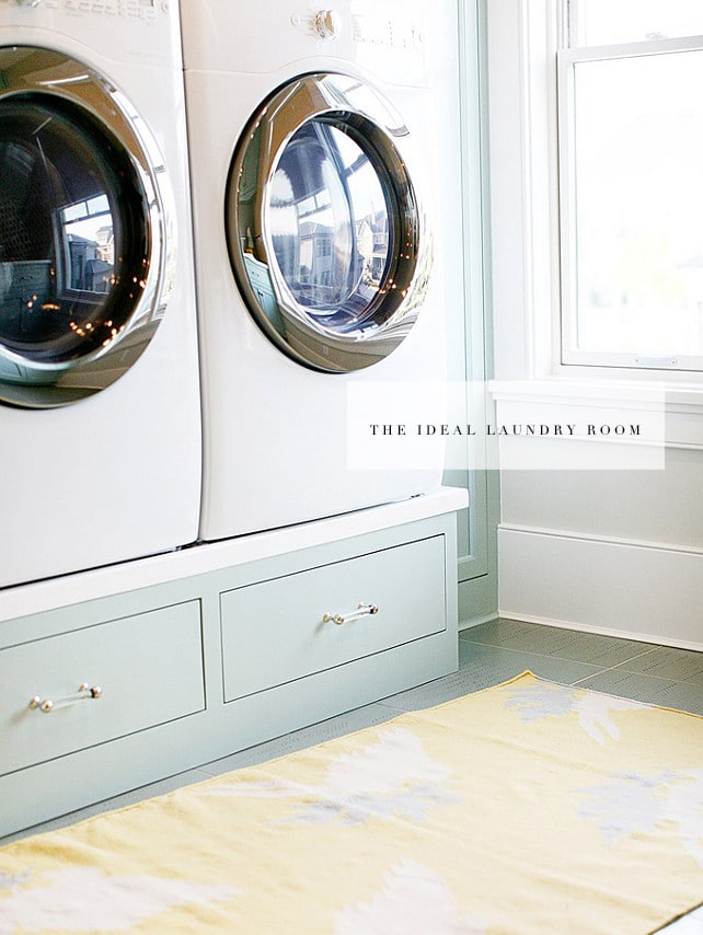 the ideal laundry room definitely has a pedestal washerdryer more storage space and