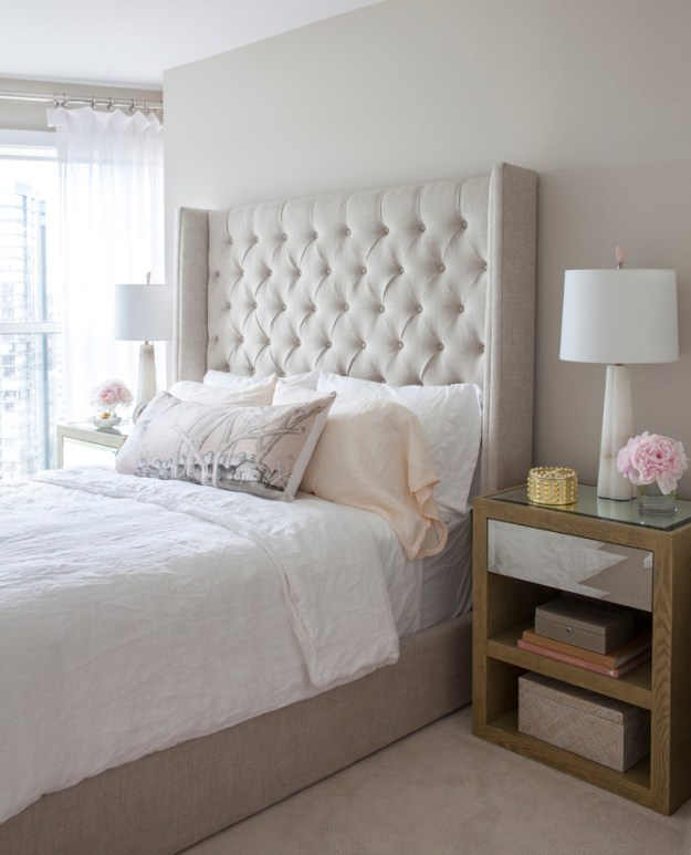 Bedroom magic from Peridot Decorative Homewear: feminine, neutral, sophisticated.