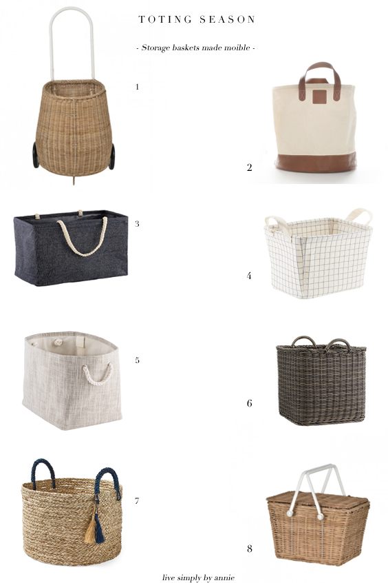 Storage baskets perfect for toting around summer fun essentials.