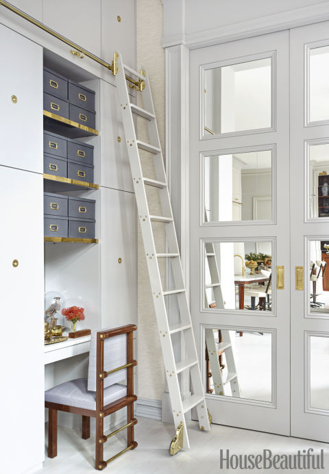 Rolling ladder--dream house storage set-up must.