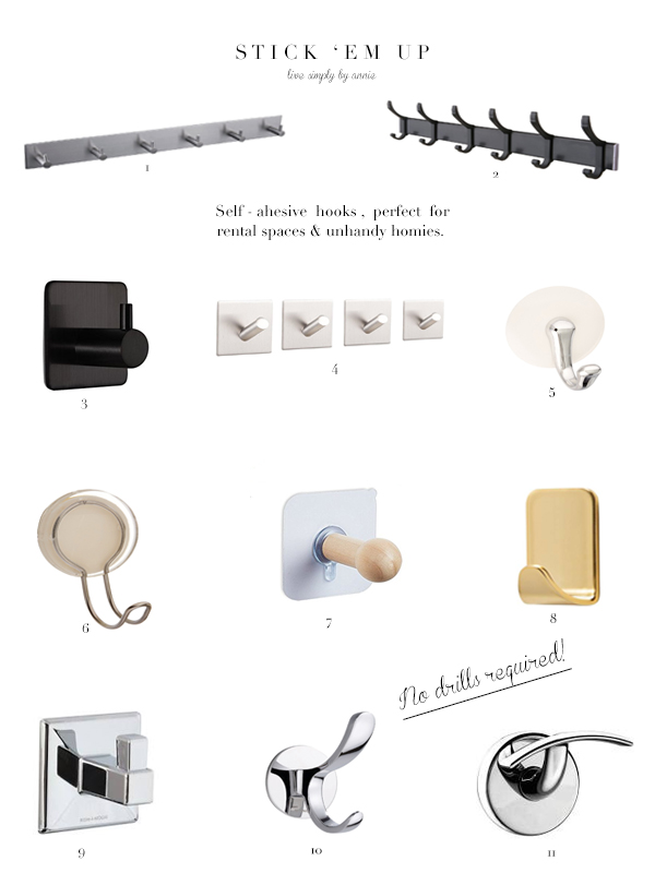 11 Self-Adhesive Hooks, Perfect For Rental Spaces & Unhandy Homies