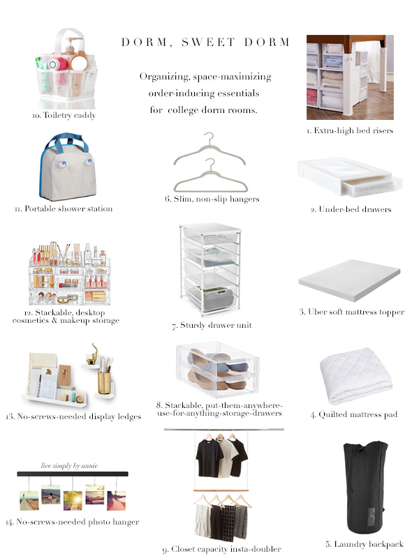 Everything you need to organize a college dorm room.