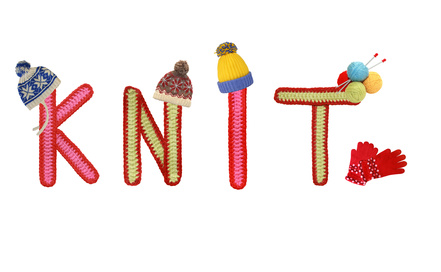 """the word """"knit"""" with hats"""