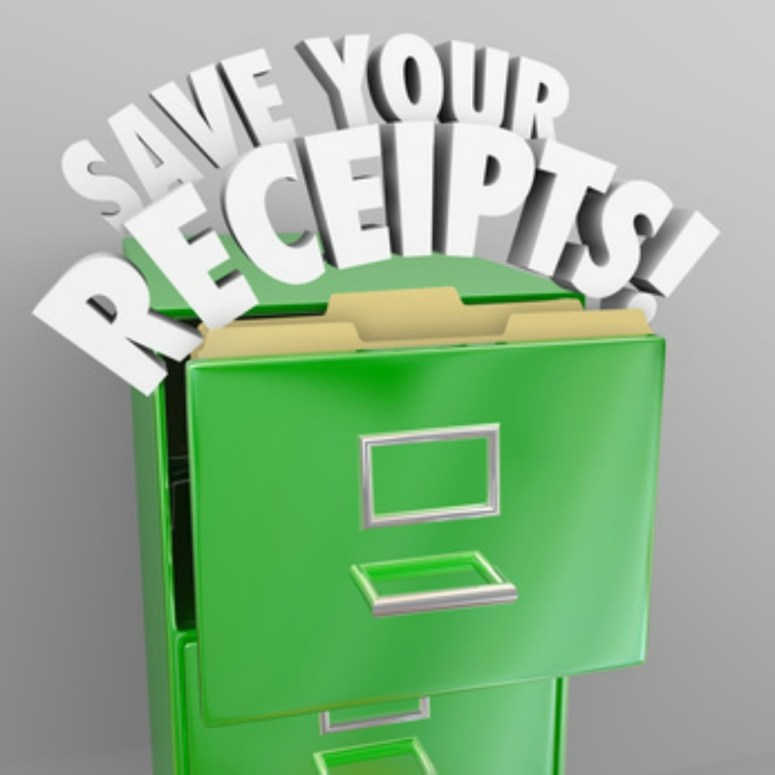 Save Your Receipts words in green file cabinet to illustrate importance of keeping proof of expenses in case of tax audits or financial bookkeeping