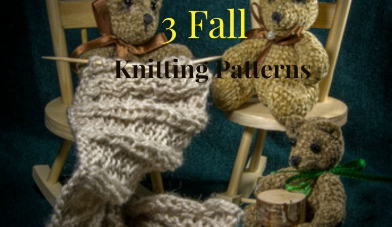 3 stuffed bears knitting on chairs