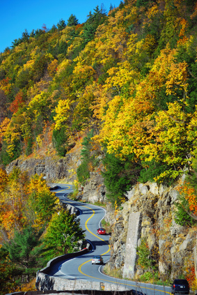 Route 97 in New York State going thru Hawks Nest high above the Delaware River.