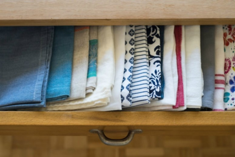 Pretty tea towels all in a drawer