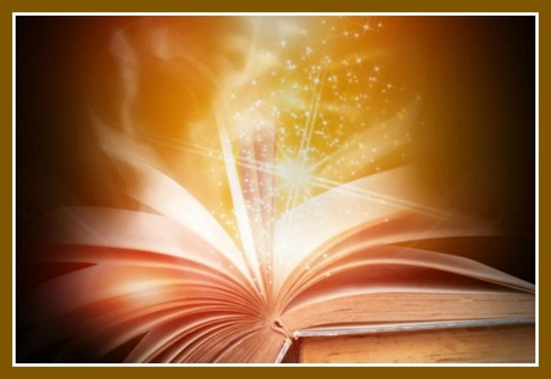 An open book emitting golden words