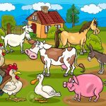 a cartoonized picture of a farm