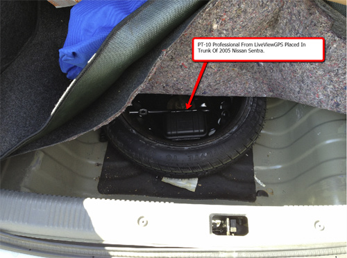 pt 10 pro gps tracker real world test inside trunk of car. Black Bedroom Furniture Sets. Home Design Ideas