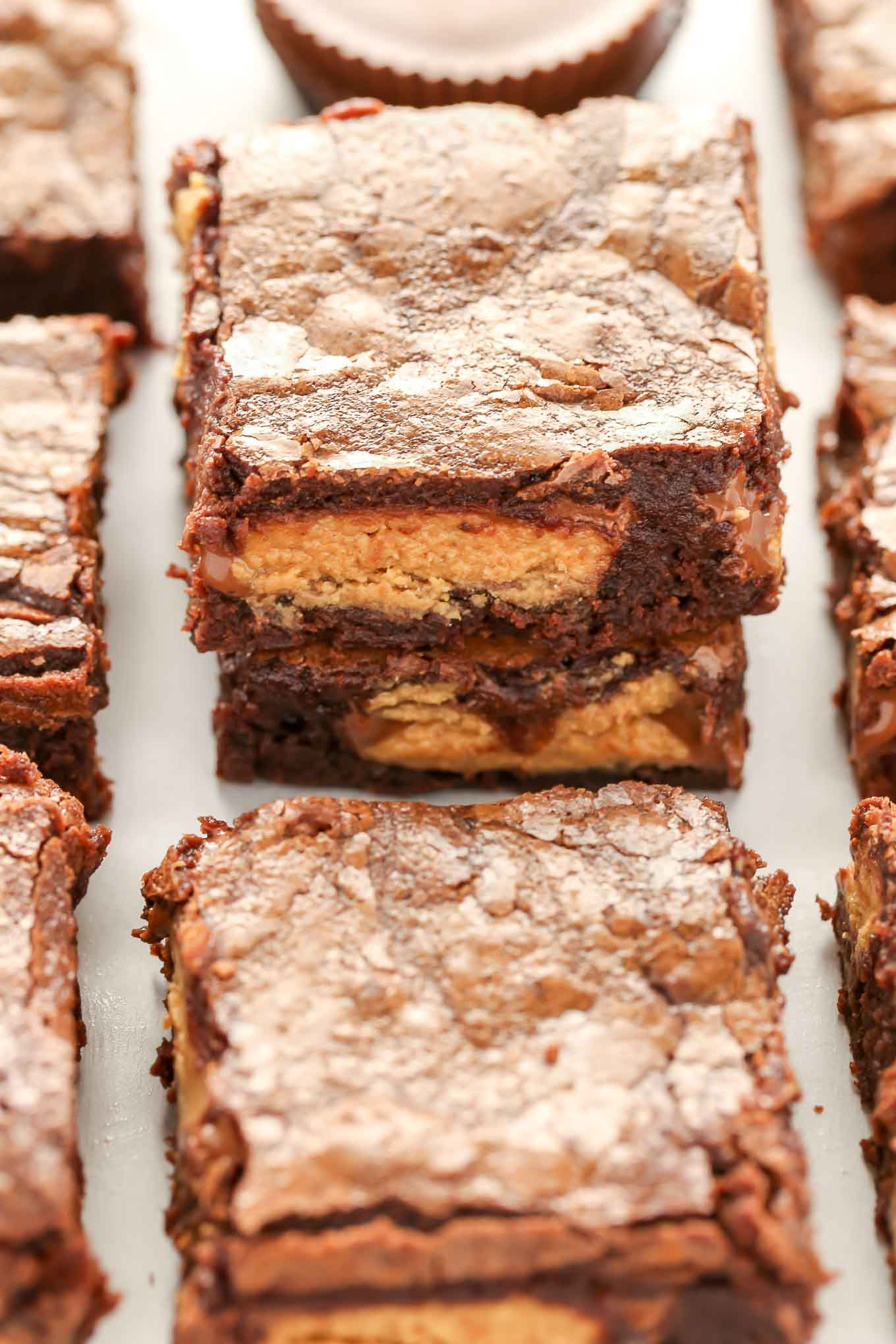 Fudgy Peanut Butter Cup Brownies These Start With An Easy Homemade Brownie Recipe And Are Stuffed