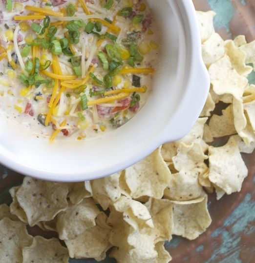 Slow Cooker Sweet Corn Roasted Poblano Dip