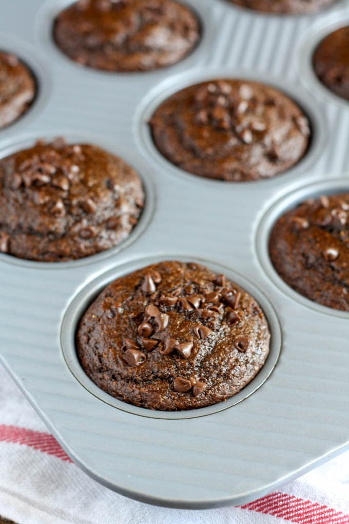 Skinny Double Chocolate Muffins