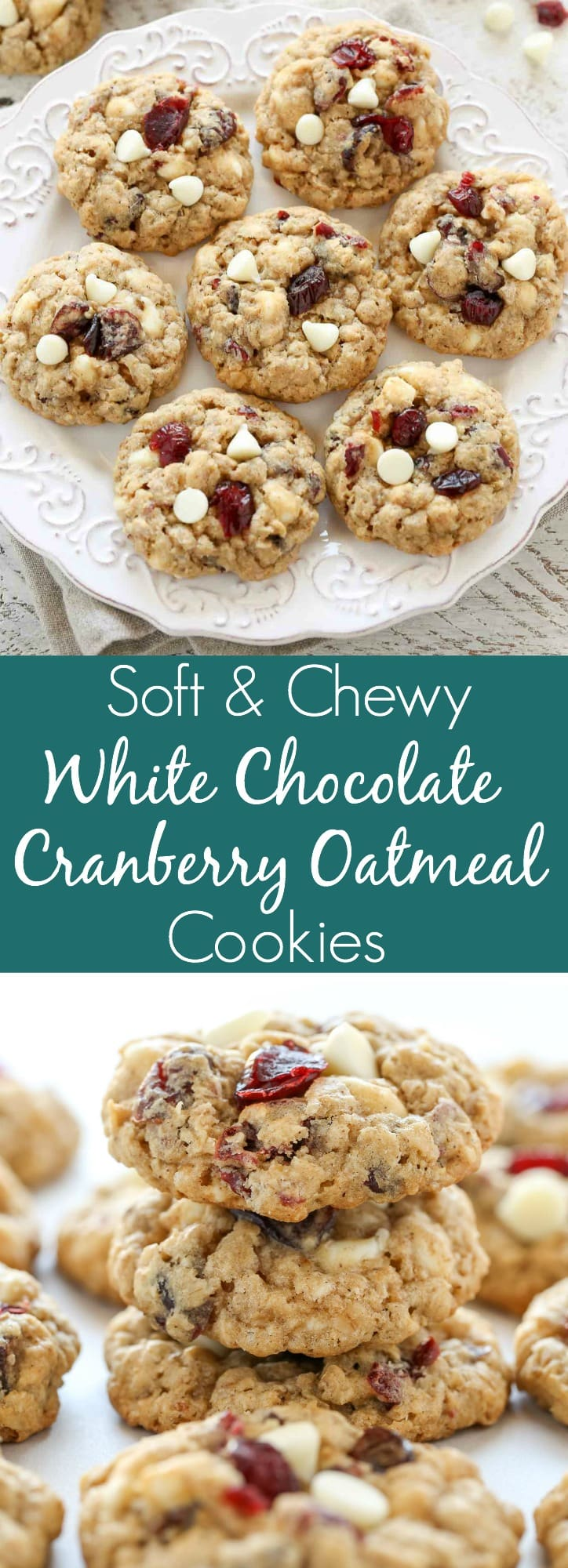 Easy soft and chewy oatmeal cookies packed with white chocolate chips and dried cranberries. These White Chocolate Cranberry Oatmeal Cookies are a perfect treat for the holidays!