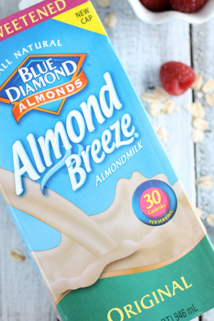 Overhead view of a carton of Almond Breeze Almondmilk on its side.