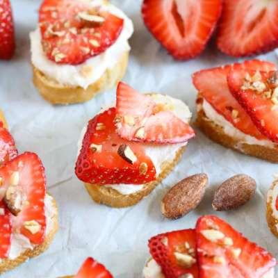 Strawberry, Almond, and Honey Goat Cheese Crostini