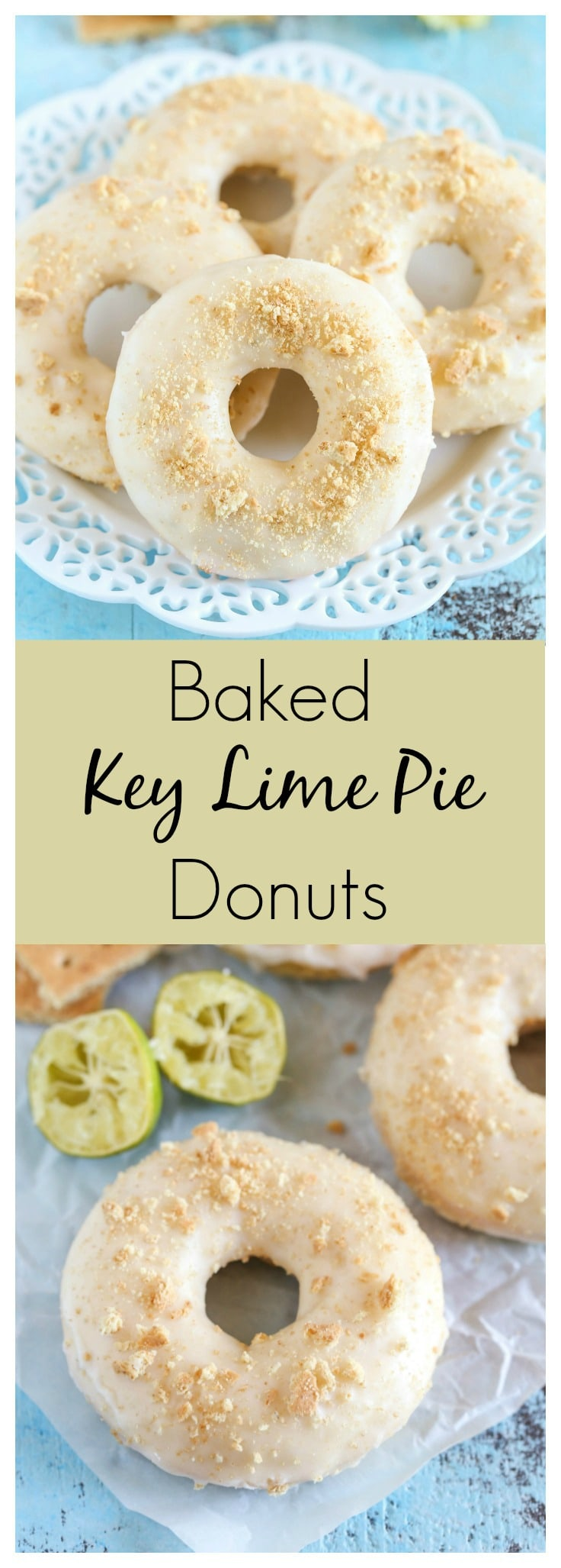 Easy Baked Key Lime Pie Donuts topped with a key lime glaze and crushed graham crackers!