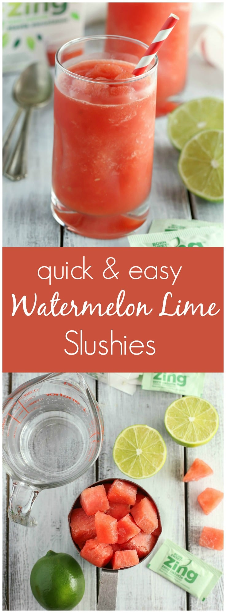 These Watermelon Lime Slushies are the perfect combination of sweet and tart. With just four ingredients, these slushies are perfect for an easy summer drink!