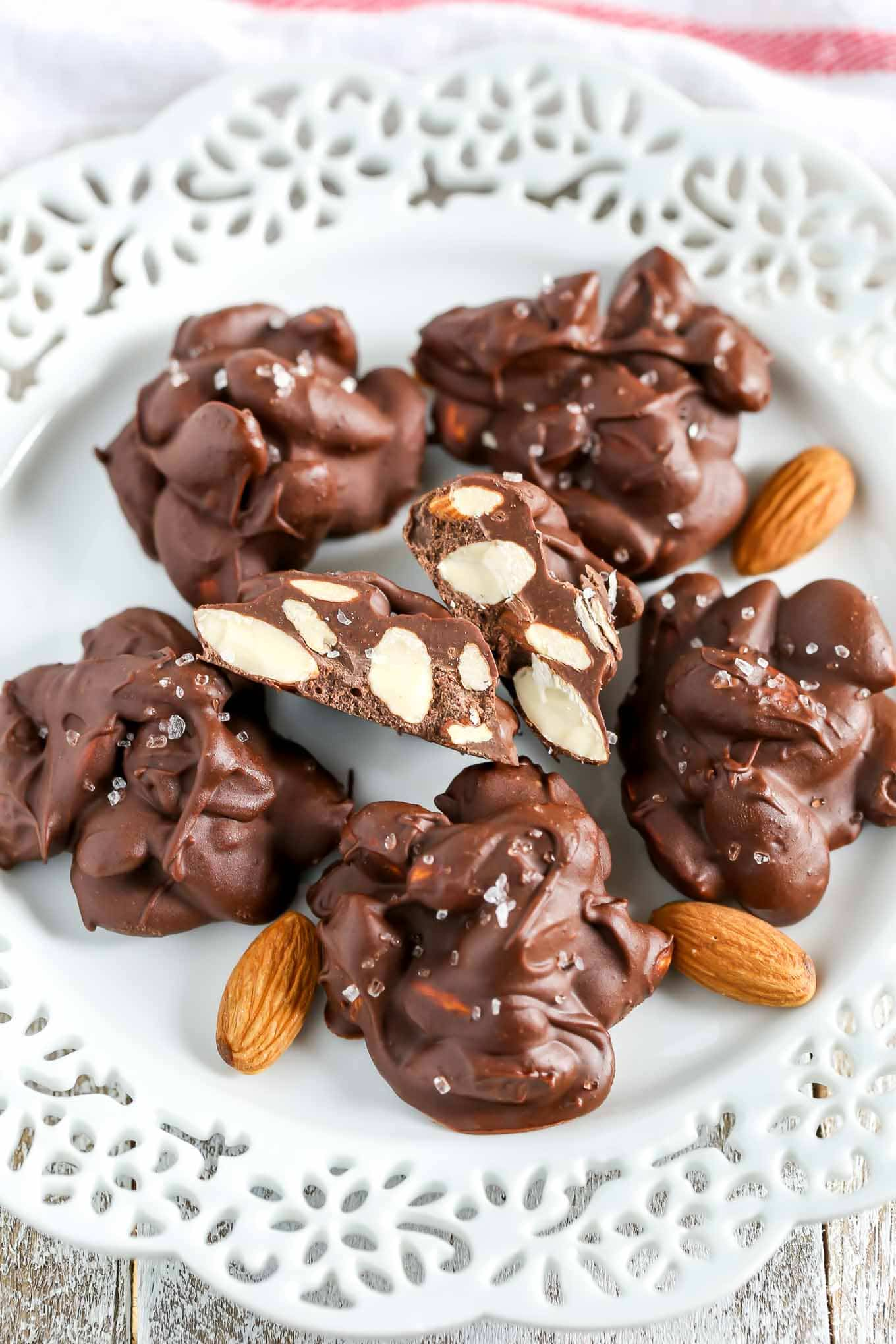 These Chocolate Espresso Almond Clusters are filled with semi-sweet chocolate, espresso powder, and crunchy almonds. These clusters are perfect for an easy dessert or snack!