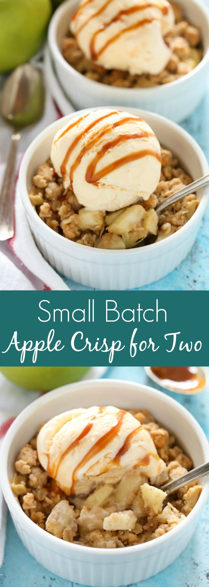 This Apple Crisp for Two is easy to make and a perfect small batch dessert for fall!