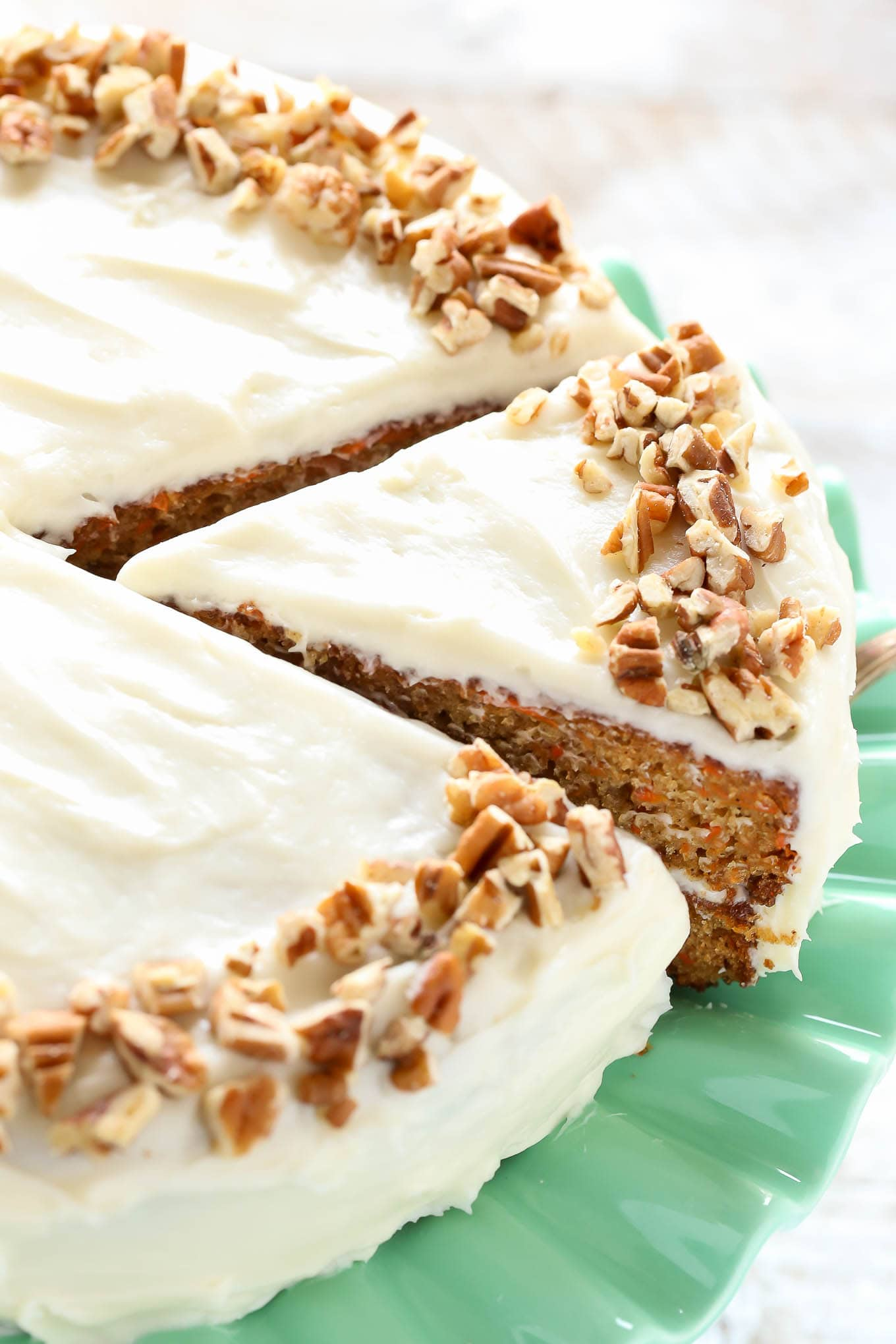 This is my favorite recipe for homemade carrot cake! This cake is so easy to make, perfectly moist, and topped with an easy homemade cream cheese frosting.
