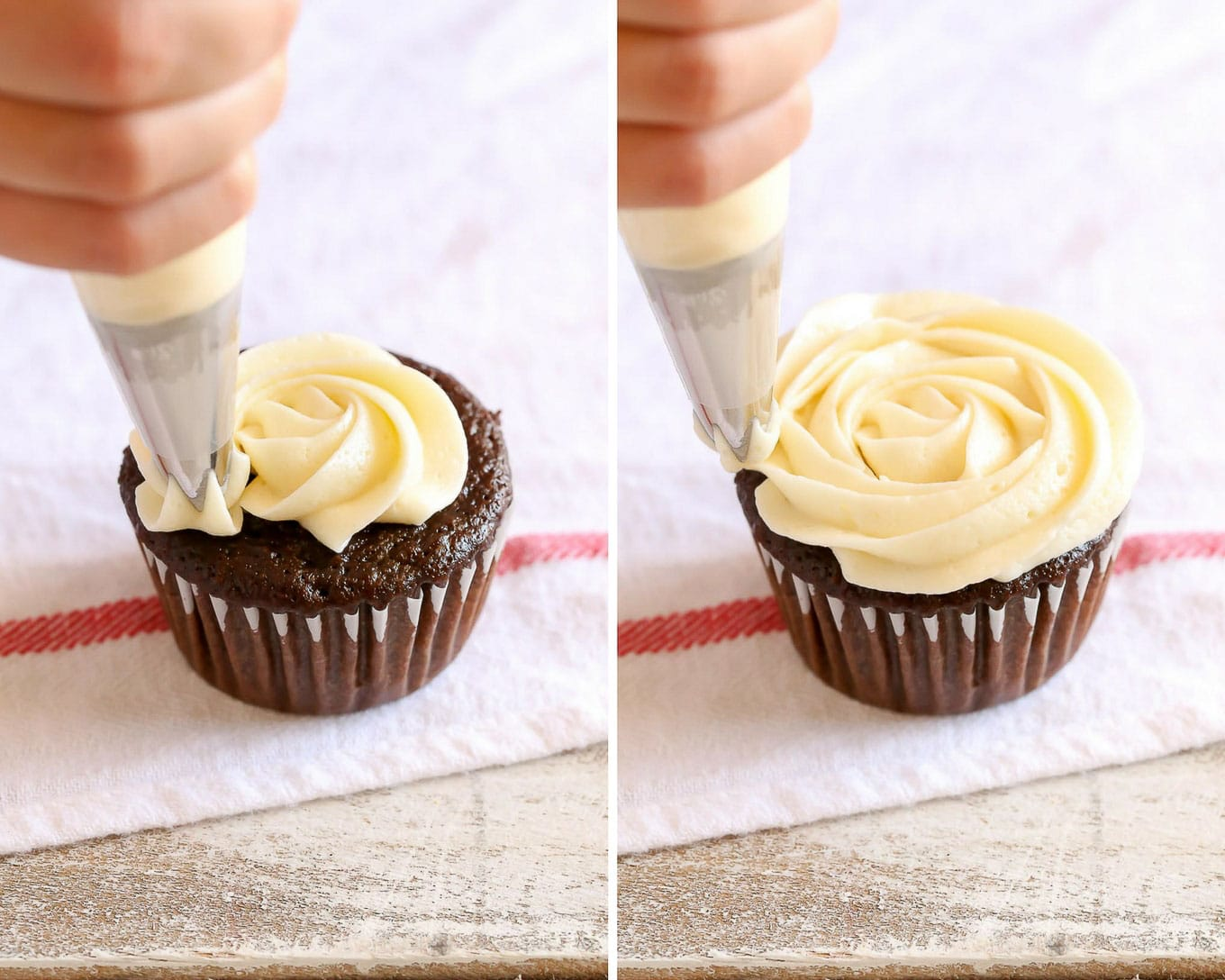 Learn to prepare your piping bag, the easiest way to fill your bag, and how to frost cupcakes like a pro with this easy piping tutorial!