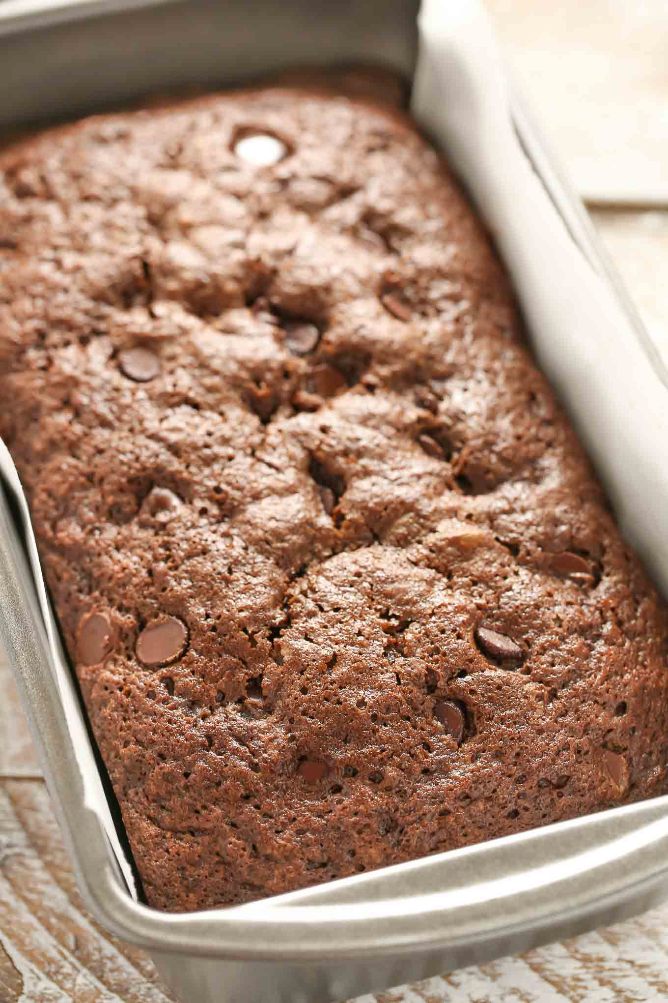 This DoubleChocolate Zucchini Bread is incredibly rich, moist, fudgy, and loaded with chocolate chips!