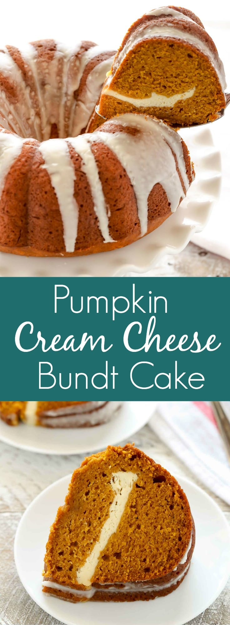A homemade pumpkin bundt cake filled with cream cheese and topped with an easy vanilla glaze. This Pumpkin Cream Cheese Bundt Cake is a perfect dessert for fall!