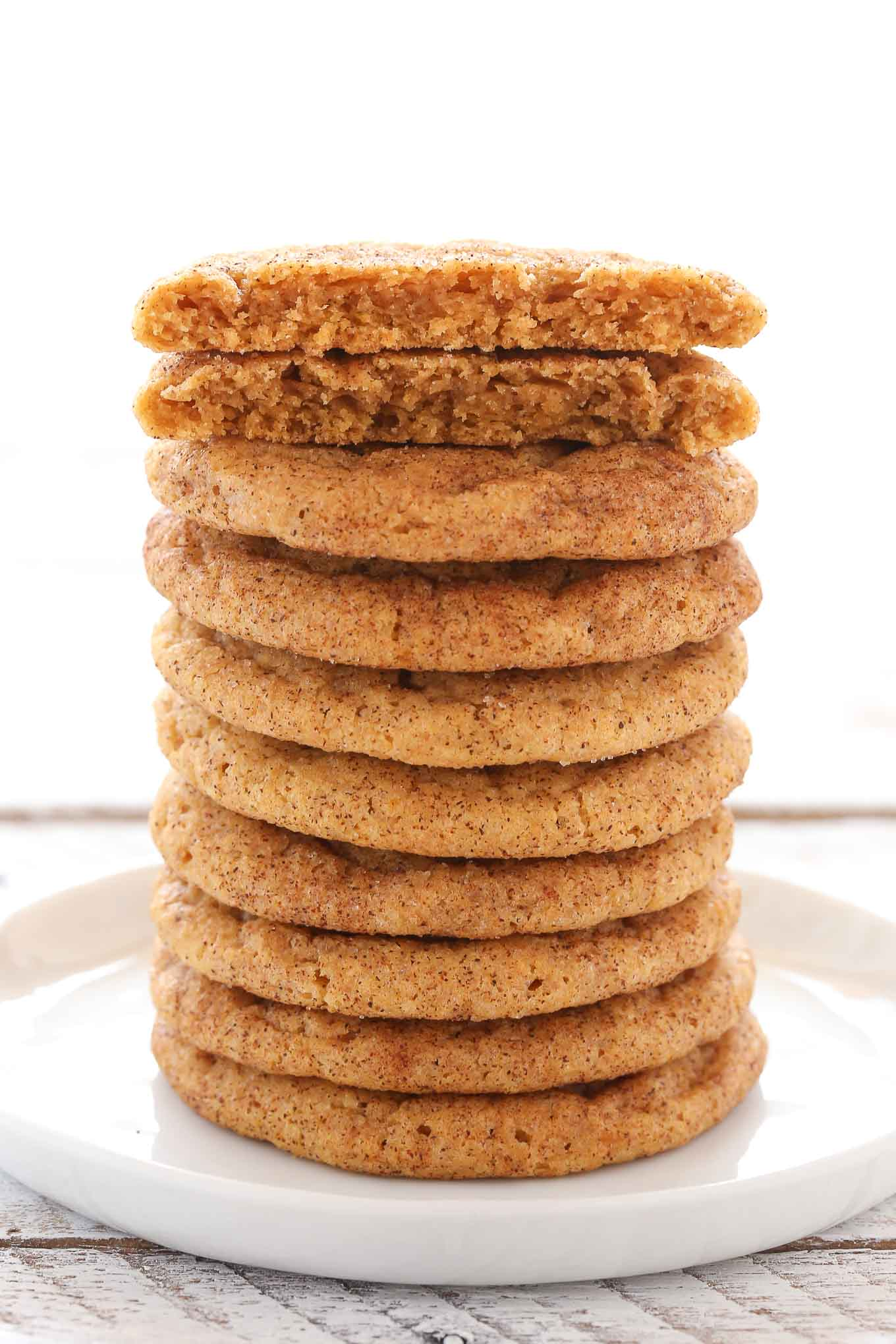 These Pumpkin Snickerdoodles are super soft and chewy (not cakey!),made with real pumpkin, and coated in cinnamon and sugar. A perfect cookie recipe for fall!